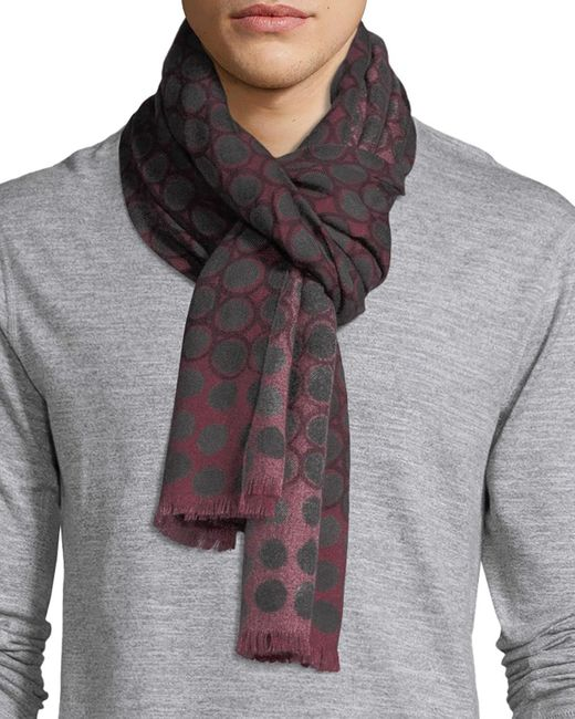 Kiton | Red Circle Medallion Cashmere Scarf | Lyst