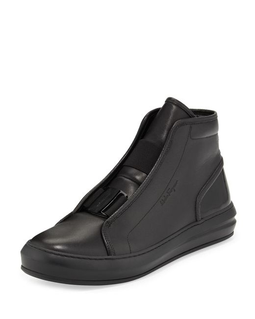 Ferragamo - Black Ground Buckle-Front Calfskin High-top Sneaker for Men - Lyst