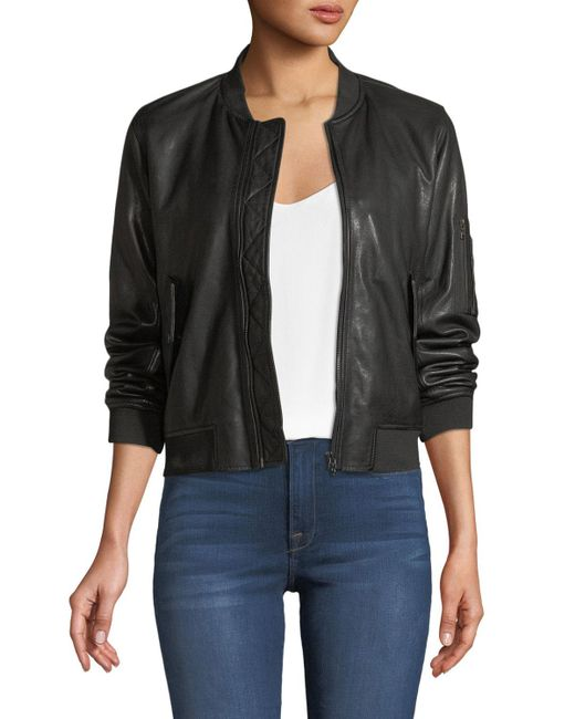 Neiman Marcus - Black Zip-front Leather Bomber Jacket - Lyst