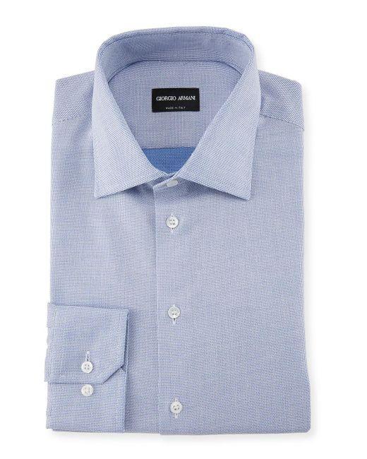Giorgio Armani - Blue Micro-structure Dress Shirt for Men - Lyst