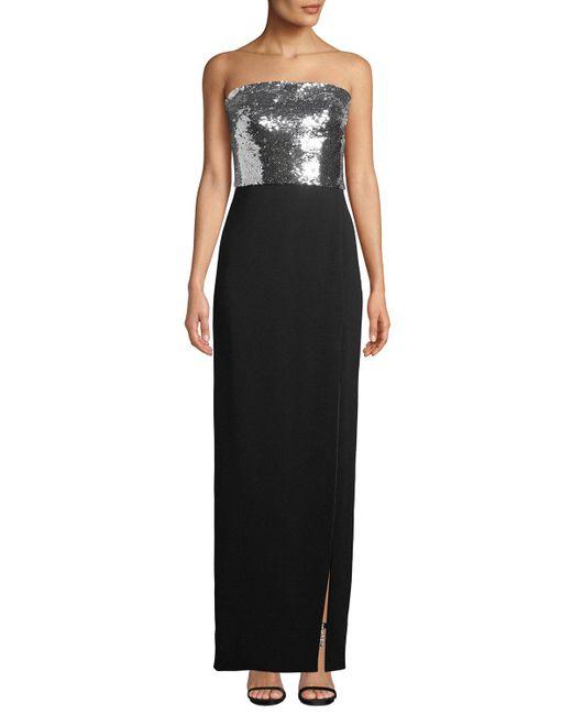 Monique Lhuillier - Black Strapless Sequin-bodice Crepe Column Evening Gown W/ Slit - Lyst