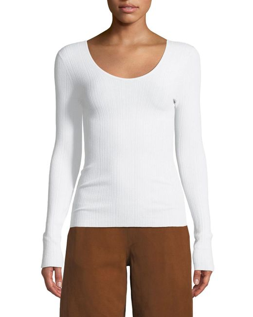 Vince - White Ribbed U-back Long-sleeve Top - Lyst