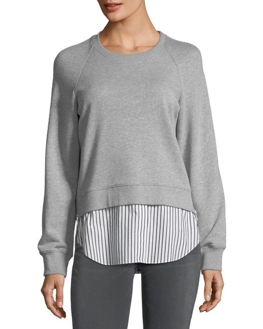 10 Crosby Derek Lam - Gray Crewneck Raglan Sweatshirt With Striped Shirt Hem - Lyst