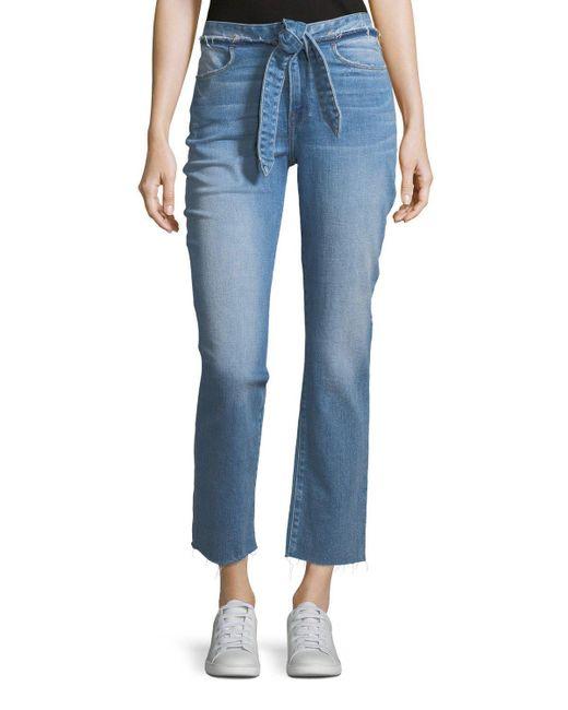 FRAME - Blue Le High Tie-waist Straight-leg Jeans - Lyst