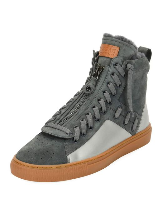 Bally - Gray Men's Hekem Fur-lined Suede High-top Sneakers for Men - Lyst
