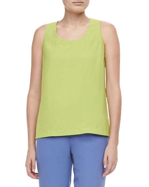 Go> By Go Silk - Green Contrast Silk Tank - Lyst