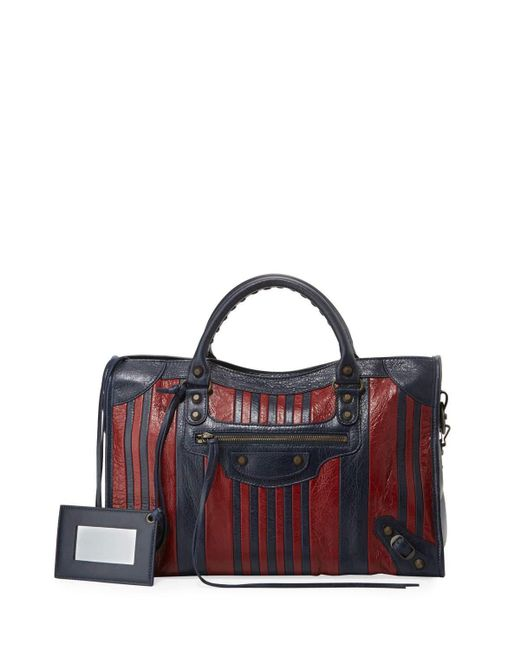 Balenciaga   Multicolor Classic Colorblock Striped Edge City Bag   Lyst