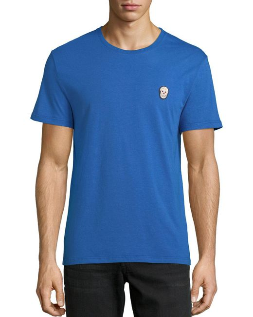 Alexander McQueen - Blue Men's Skull Applique Jersey T-shirt for Men - Lyst