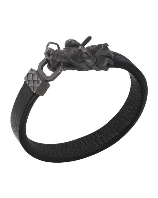 John hardy naga men 39 s dragon head leather bracelet in for John hardy jewelry factory bali