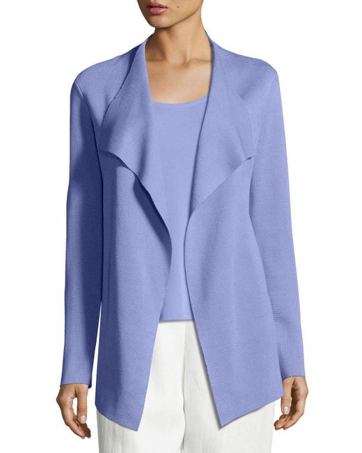 Eileen Fisher | Blue Open Interlock Jacket | Lyst