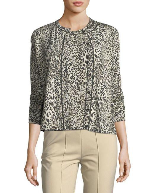 ESCADA - Black Leopard Virgin Wool Cardigan - Lyst