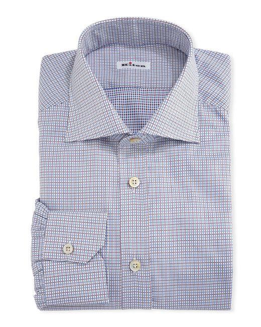 Kiton - White Graph-check Cotton Dress Shirt for Men - Lyst