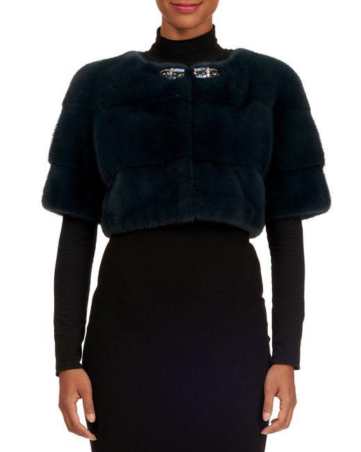Zac Posen - Green Jewel-neckline Mink Fur Bolero Jacket - Lyst