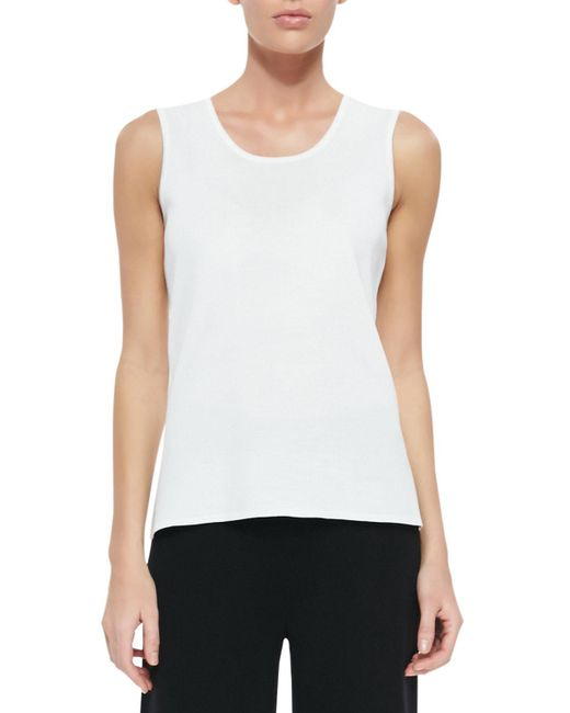 Misook - White Knit Scoop-neck Tank Top - Lyst