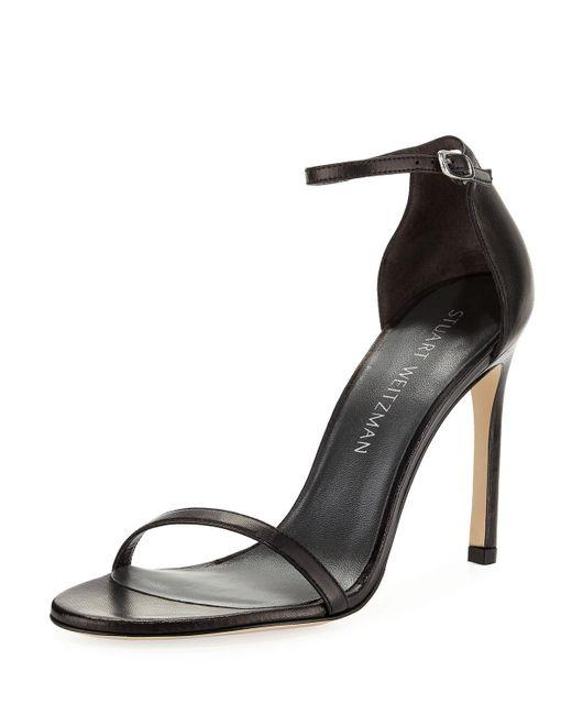 Stuart Weitzman - Black Nudistsong 90mm Minimalist Leather Sandals - Lyst