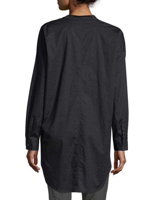 Eileen Fisher | Black Mandarin-collar Stretch-lawn Button-front Shirt | Lyst