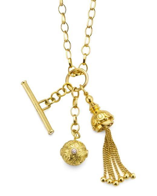 Monica Rich Kosann - Metallic 18k Gold Tassel/Toggle/Ball Charm Necklace - Lyst