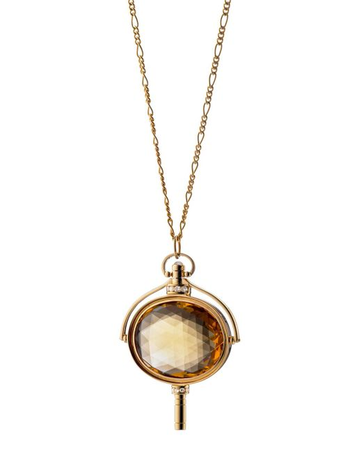 Monica Rich Kosann - Metallic Pocket Watch Key Honey Quartz Oval Necklace - Lyst