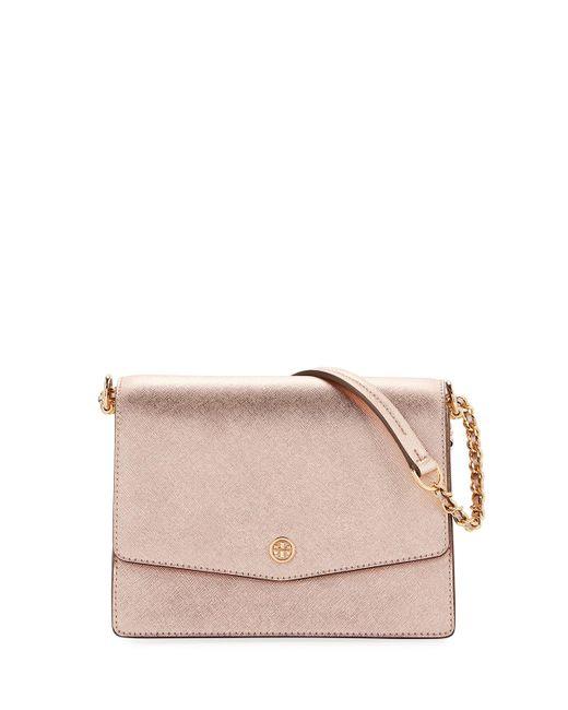 Tory Burch - Pink Robinson Metallic Leather Flap Shoulder Bag - Lyst