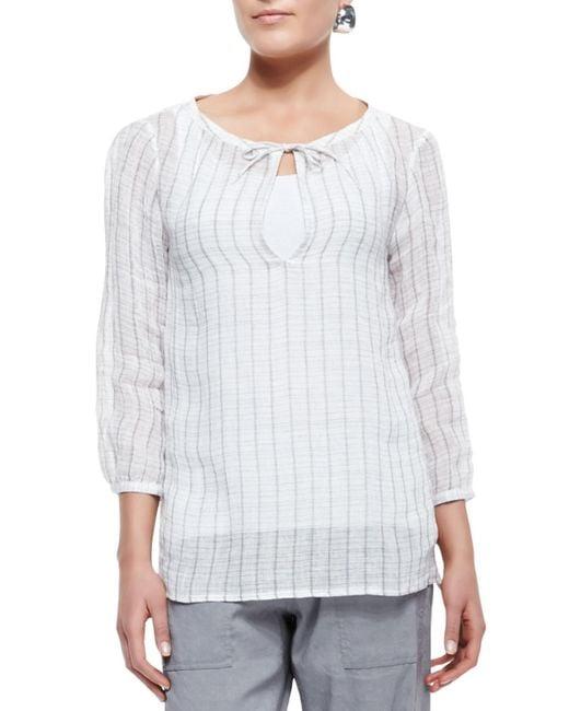 Eileen Fisher - White 3/4-sleeve Windowpane Gauze Top - Lyst