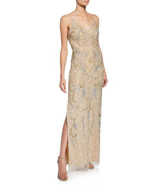 545071d1 Aidan Mattox Beaded V-neck Sleeveless Column Dress in Blue - Lyst