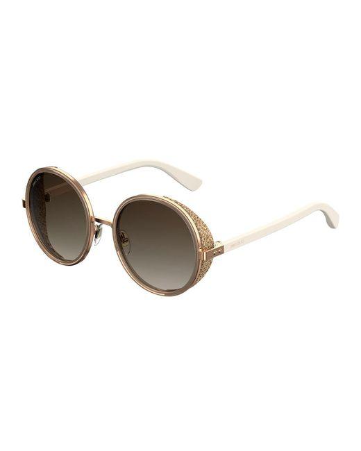 0a4649eca8 Lyst - Jimmy Choo Andien Textured Round Sunglasses in Black