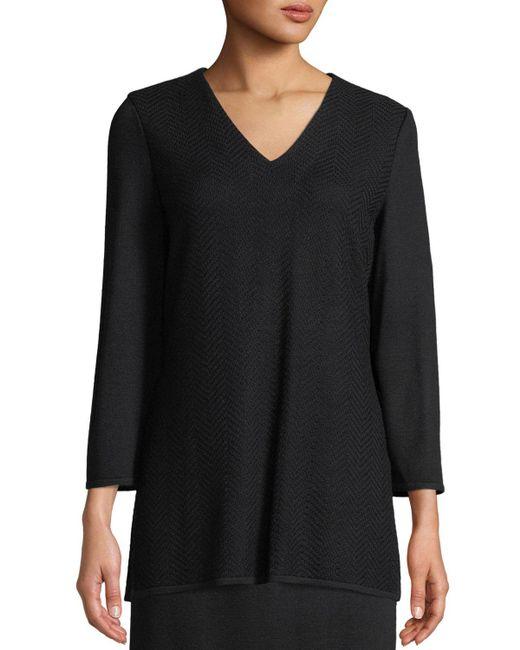 Misook - Black V-neck 3/4-sleeve Wool-blend Sweater - Lyst