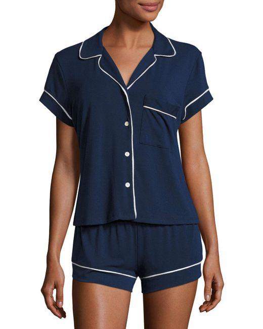 Eberjey - Blue Gisele Boxer-short Jersey Pajama Set - Lyst