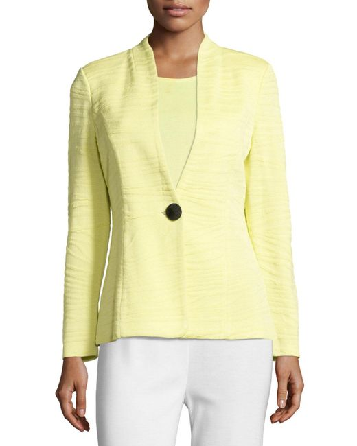 Misook | Green Textured One-button Jacket | Lyst