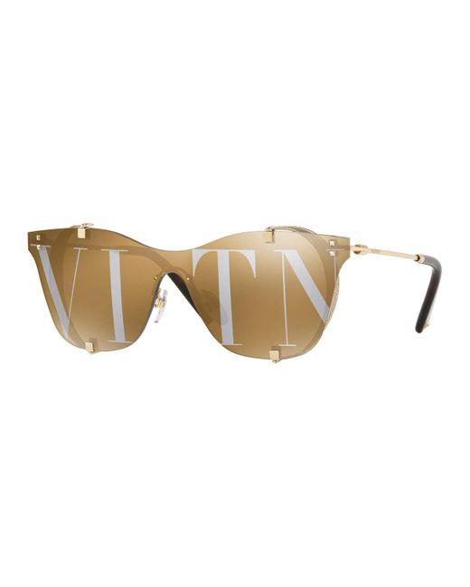 Valentino - Metallic Square Side-blinder Sunglasses - Lyst
