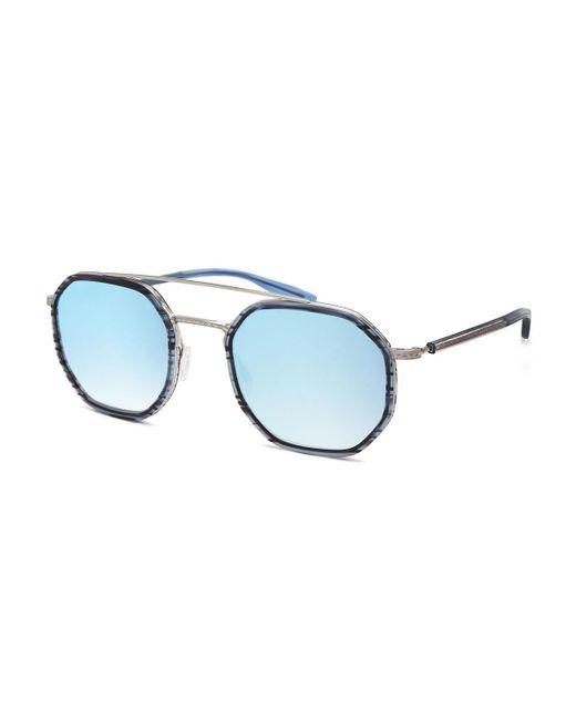 Barton Perreira | Blue Themis Mirrored Octagonal Sunglasses | Lyst