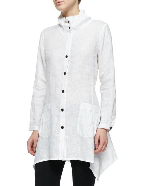 Go> By Go Silk - White Ruffle-collar Linen Drama Big Shirt - Lyst