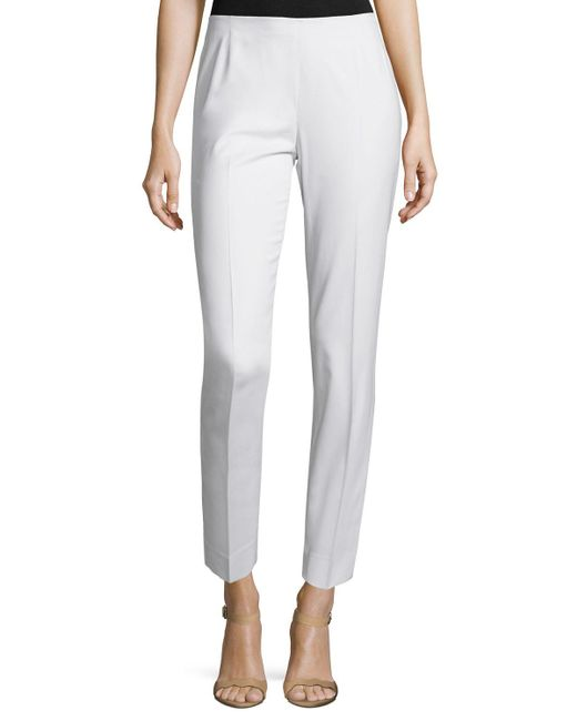 Lafayette 148 New York - White Stanton Straight-leg Ankle Pants - Lyst