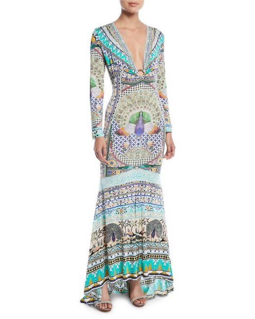 Camilla - Blue Printed Silk Long-sleeve Maxi Dress - Lyst