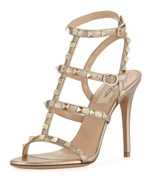 Valentino | Rockstud Metallic Leather 105mm Sandal | Lyst