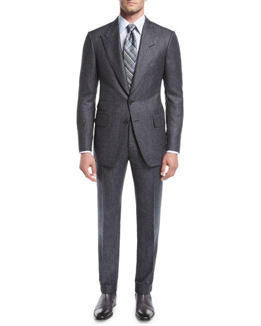 Tom Ford - Gray Shelton Base Salt & Pepper Wool-silk Two-piece Suit for Men - Lyst
