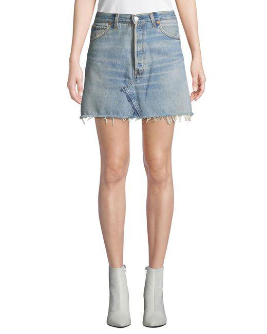 Re/done - Blue Vintage High-rise Frayed Denim Mini Skirt - Lyst