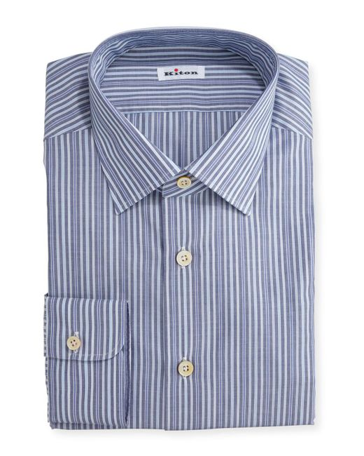 Kiton   Blue Alternating-stripe Dress Shirt for Men   Lyst