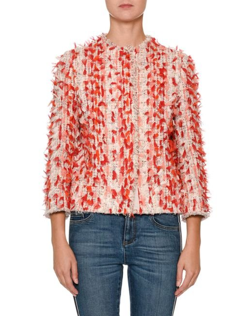 Alexander McQueen - Red Jewel-neck Painterly Tweed Jacket With 3-d Ribbon Trim - Lyst
