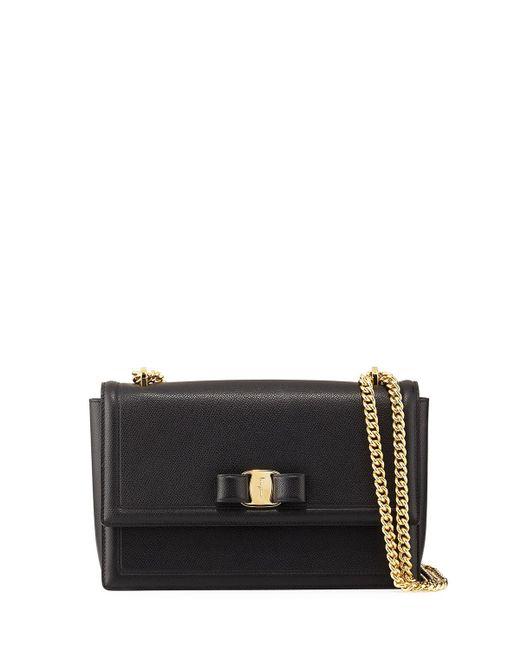 Ferragamo - Ginny Medium Vara Crossbody Bag Black - Lyst