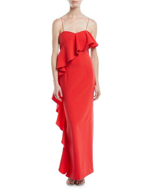 Sachin & Babi - Pink Maxi Column Gown W/ Asymmetrical Ruffle - Lyst