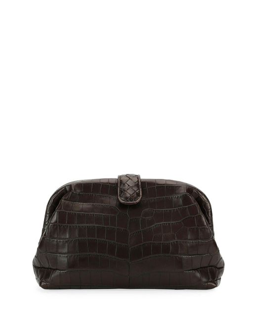 Bottega Veneta - Black The Lauren 1980 Soft Croc Clutch Bag - Lyst