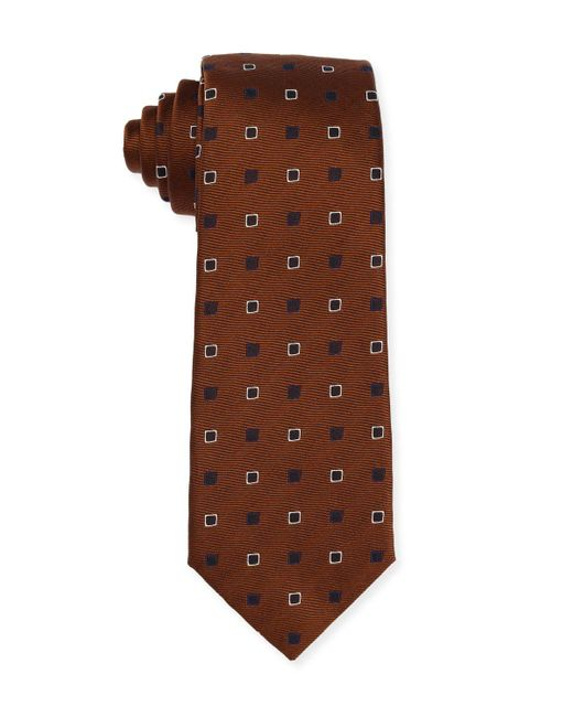 Isaia | Blue Diamond-box Silk-cotton Tie for Men | Lyst