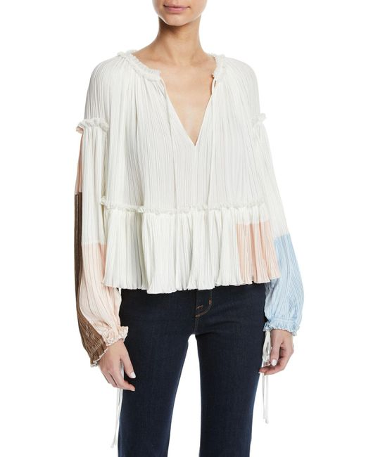3.1 Phillip Lim - White Pleated Colorblock Long-sleeve Ruffle Top - Lyst