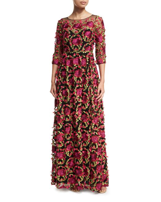 Notte by Marchesa | 3/4-sleeve Floral-embroidered Gown | Lyst