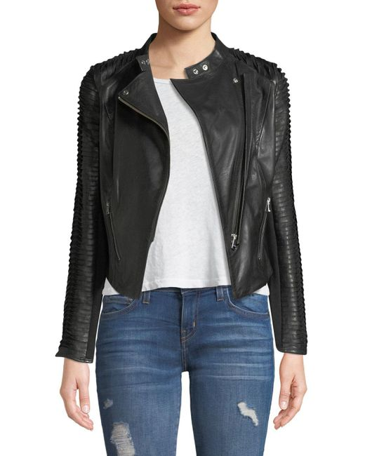 Lamarque - Black Stripped Leather Motorcycle Jacket - Lyst