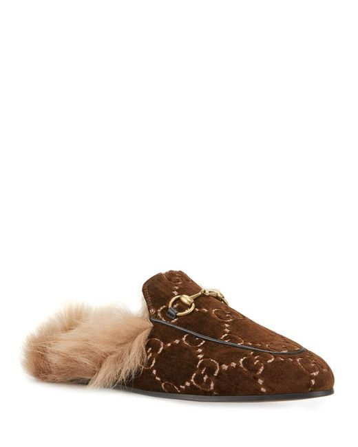 cbfdd4923b8 Lyst - Gucci Flat Princetown Velvet GG Mule With Fur in Brown