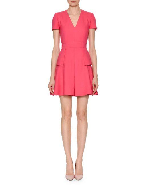 Alexander McQueen - Pink Short-sleeve V-neck Wool-blend Mini Dress - Lyst