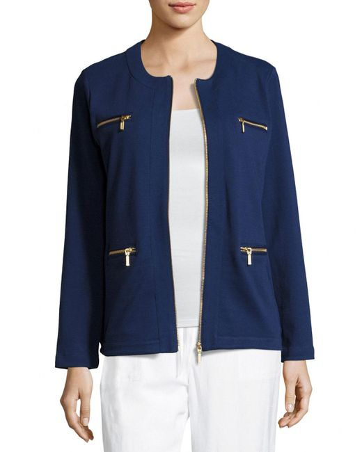 Joan Vass | Blue Stretch Interlock Zip-front Jacket | Lyst