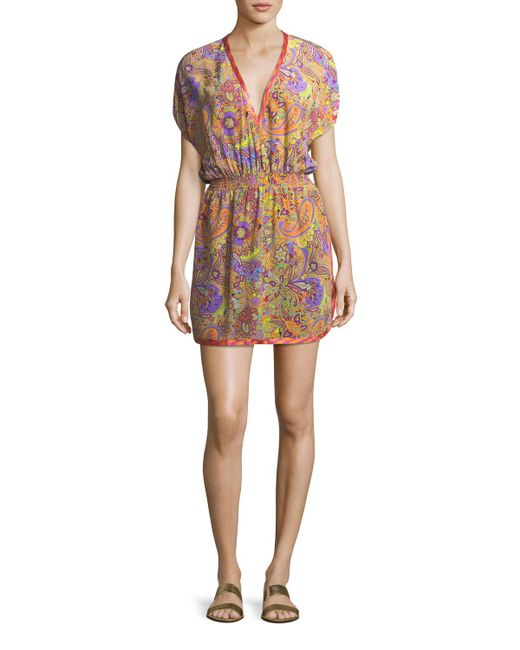Etro - Multicolor V-neck Blouson Printed Silk Coverup Mini Dress - Lyst